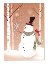 Snowman and Birch Tree Christmas Cards, Package of 25