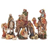 Traditional Nativity Set - removably Baby Jesus 10 Pieces
