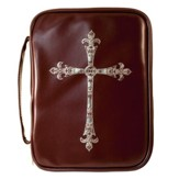 Fancy Cross Bible Cover, Red and Brown, Large