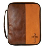 Cross Bible Cover, Brown, Large