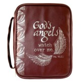 God's Angels Watch Over Me Bible Cover, Brown, Large