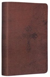ESV Compact Bible--soft leather-look, walnut with weathered  cross design