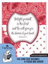 Delight In the Lord, Encouragement Card and Tissue Box Cover