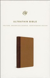 ESV UltraThin Bible, TruTone, Brown/Goldenrod with Herringbone Design