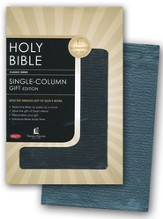 NKJV Single Column Bible: Genuine Leather Black