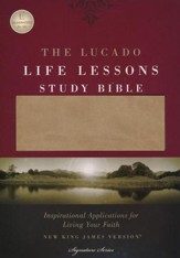 The NKJV Lucado Life Lessons Study Bible, Leathersoft Cafe au Lait/ StormCloud Gray