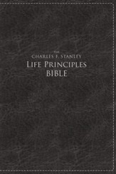 NKJV Charles F. Stanley Large Print Life Principles Bible Imitation leather, Black (indexed)