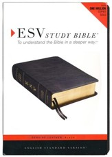 ESV Study Bible, Black Genuine Leather  - Imperfectly Imprinted Bibles