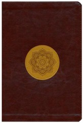 ESV Large-Print Thinline Reference Bible--soft leather-look, chocolate/goldenrod with emblem design