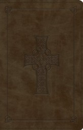 ESV Premium Gift Bible--soft leather-look, olive with Celtic cross design