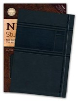 NKJV Study Bible, Large Print, Leathersoft, charcoal indexed - Slightly Imperfect