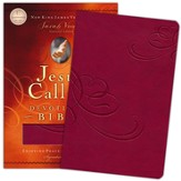 NKJV Jesus Calling Devotional Bible: Enjoying Peace in His Presence, Leathersoft Cranberry - Imperfectly Imprinted Bibles