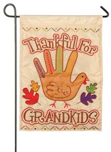 Thankful For Grandkids, Turkey Hand Flag, Small