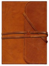 ESV Single-column Journaling Bible, Large Print, Brown Natural Leather, Flap with Strap