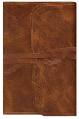 ESV Thinline Bible, Brown Natural Leather, Flap with Strap