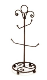 Scroll Mug Stand, 4 Arms, Black