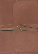ESV Study Bible (Brown, Flap with Strap) Natural Leather