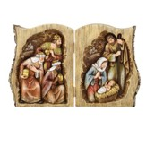 Log Book with Nativity Scene Figurine