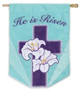 He Is Risen, Lily Cross Flag, Large