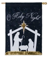 O Holy Night, Nativity Silhouette Flag, Large