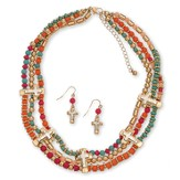 3 Row Beaded Necklace Set, Turquoise, Orange And Red