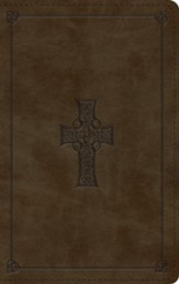 ESV Large-Print Personal-Size Bible--soft leather-look, olive with Celtic cross design