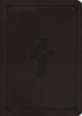 ESV Large-Print Single-Column Journaling Bible--soft leather-look, charcoal with Celtic cross design