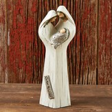 Holy Family Peace Figurine, Wood & Silver