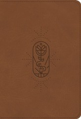 ESV Compact Kid's Bible--soft leather-look, tan with true vine design