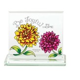 Be Joyful In Hope Glass Tabletop Plaque