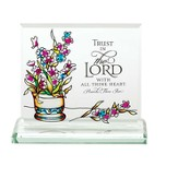 Trust In the Lord Glass Tabletop Plaque