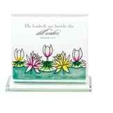 He Leadeth Me Beside Still Waters Glass Tabletop Plaque