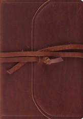 ESV Journaling Bible, Interleaved Edition--cowhide leather, brown with flap/strap