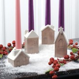 Church & Houses Advent Candle Holder, Set of 4