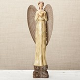 Damask Angel Holding Heart Figurine, Ivory & Gold