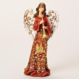 Angel With Horn, Goldleaf Papercut Figurine