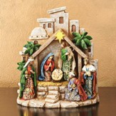 Nativity Scene, Goldleaf Papercut Figurine