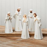 White Stoneware Nativity Set 5 Pieces