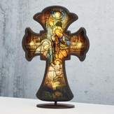 Holy Family Stained Glass LED Wall Cross