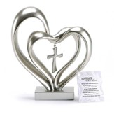 Double Heart with Cross Figure, Silver