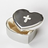 Heart Shaped Trinket Box with Cross