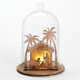 LED Nativity Stable, Glass Dome