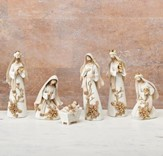 Gold & White Nativity Set 6 Pieces