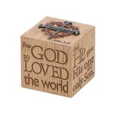 For God So Loved the World Tabletop Cube Figure