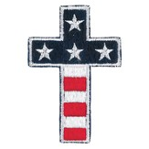 Flag Cross, Iron On Patch