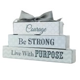 Courage, Be Strong, Live with Purpose, Block Figurine