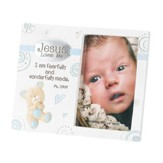 Jesus Loves Me, Easel Back Photo Frame with Baby Bear, Blue, 3 x 5