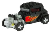 Nanoblock Advanced Hobby, Hot Rod, Black with Flames