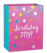 Birthday Joy, Pink Polka Dot Gift Bag, Medium