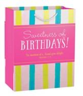 Sweetness of Birthday, Pink Strip Gift Bag, Medium
